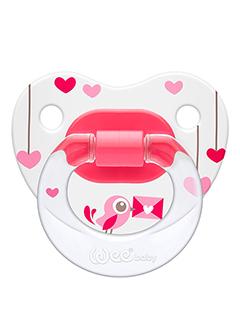 Ортодонтическая соска-пустышка с рисунком (розовая)