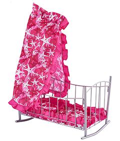 Кукольная кроватка-качалка со съёмным балдахином