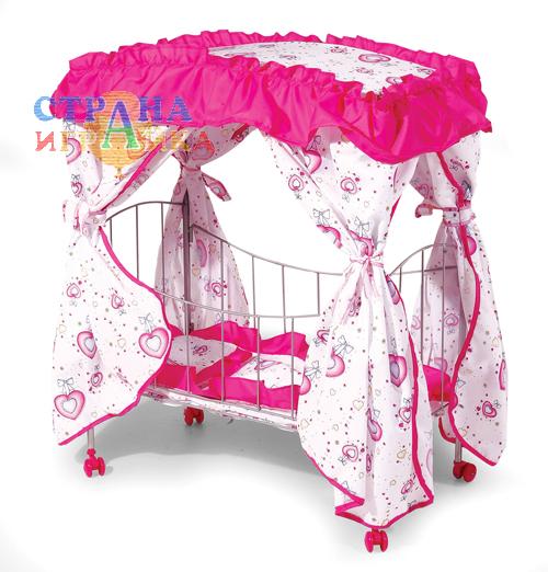Кроватка с пологом для кукол до 43 см