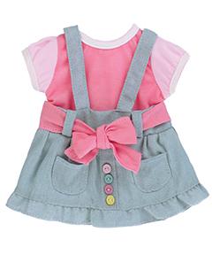 Розово-серое платье с карманами и пуговками