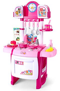 Розовая кухня с часами, водичкой и шкафчиками