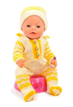 Кукла Baby Doll Love жёлтый вязаный комбинезон