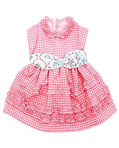 Платье в клеточку с цветным поясом