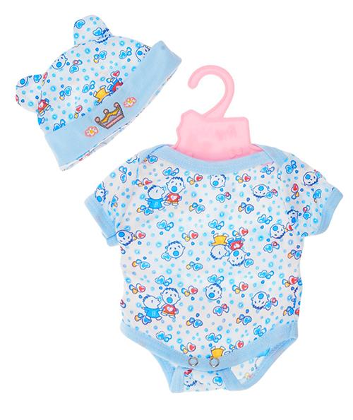 Белое боди с голубыми сердечками и малышами