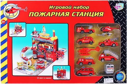 """Переносной 2-сторонний набор-парковка """"Пожарная станция"""""""