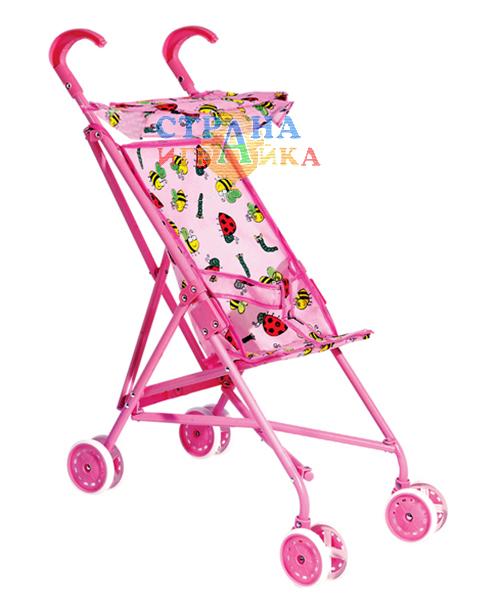 Кукольная коляска-трость с поворотными колёсами
