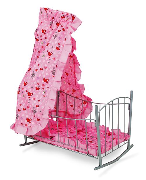 Кукольная кроватка-качалка с балдахином